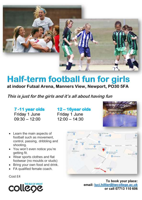 Half term May 2018 Football for Girls poster